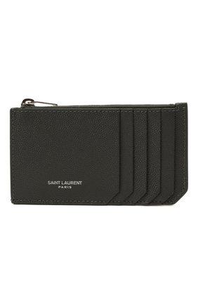 Мужской кожаный футляр для кредитных карт SAINT LAURENT серого цвета, арт. 609362/BTY0N | Фото 1