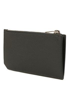 Мужской кожаный футляр для кредитных карт SAINT LAURENT серого цвета, арт. 609362/BTY0N | Фото 2