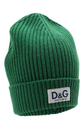 Мужская шерстяная шапка DOLCE & GABBANA темно-зеленого цвета, арт. GXE83T/JBVB6   Фото 1 (Материал: Шерсть; Кросс-КТ: Трикотаж)