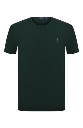 Мужская хлопковая футболка POLO RALPH LAUREN зеленого цвета, арт. 710740727 | Фото 1 (Материал внешний: Хлопок; Рукава: Короткие; Принт: Без принта; Стили: Кэжуэл; Длина (для топов): Стандартные)