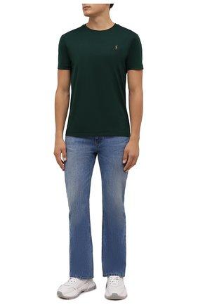 Мужская хлопковая футболка POLO RALPH LAUREN зеленого цвета, арт. 710740727 | Фото 2 (Материал внешний: Хлопок; Рукава: Короткие; Принт: Без принта; Стили: Кэжуэл; Длина (для топов): Стандартные)