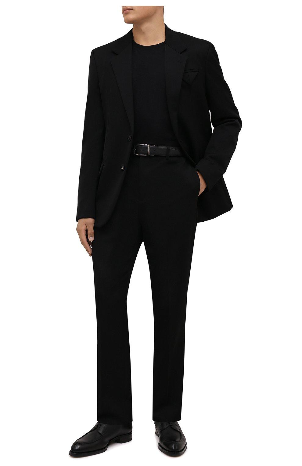 Мужские кожаные дерби BRIONI черного цвета, арт. QE1D0L/01707   Фото 2 (Материал внутренний: Натуральная кожа; Стили: Классический)
