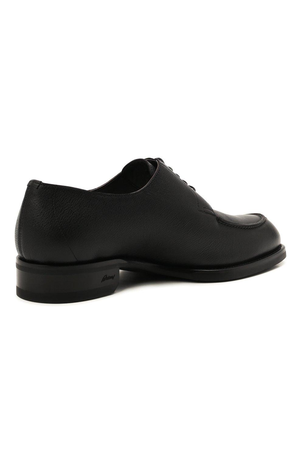 Мужские кожаные дерби BRIONI черного цвета, арт. QE1D0L/01707   Фото 4 (Материал внутренний: Натуральная кожа; Стили: Классический)