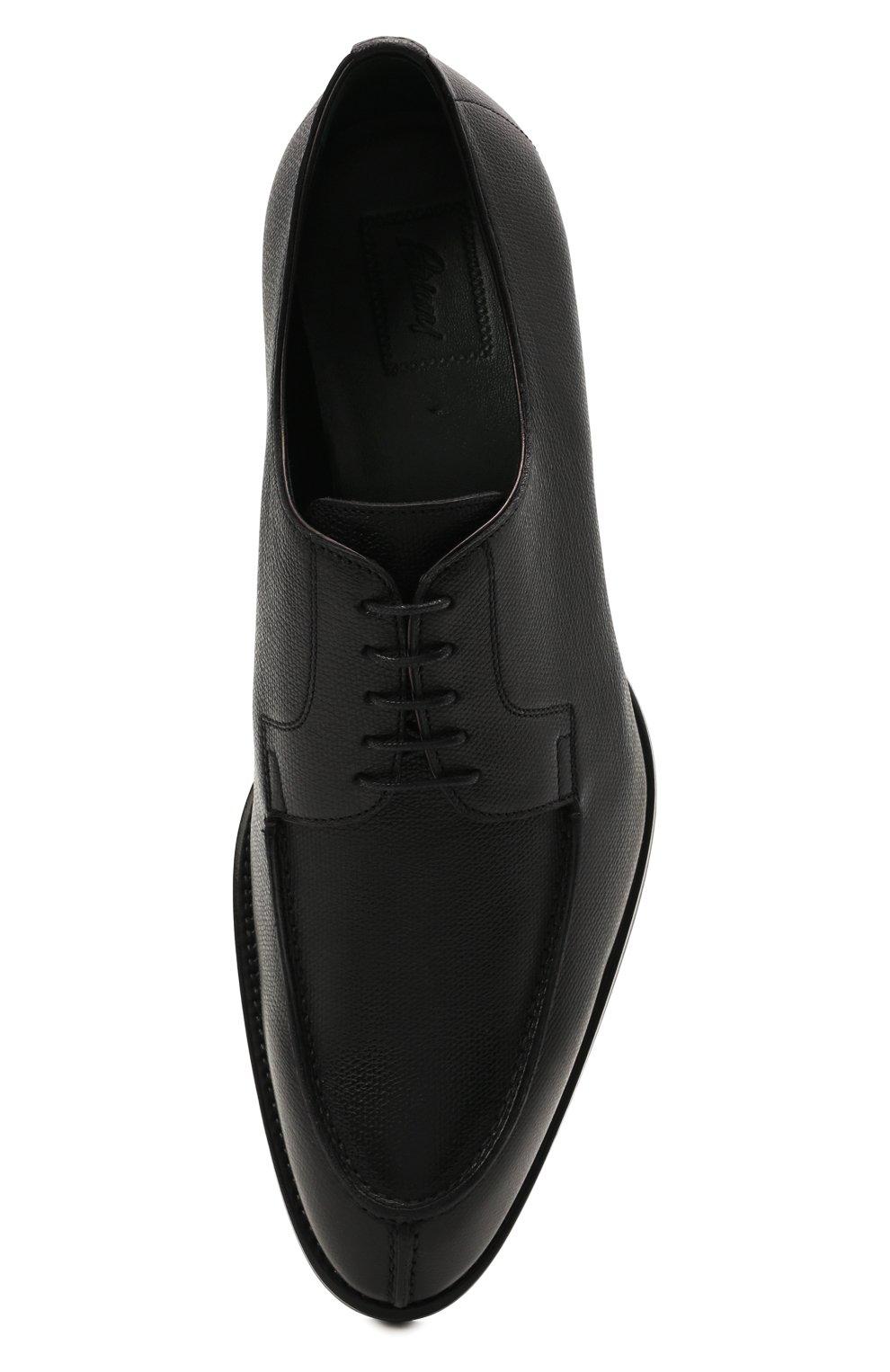Мужские кожаные дерби BRIONI черного цвета, арт. QE1D0L/01707   Фото 5 (Материал внутренний: Натуральная кожа; Стили: Классический)