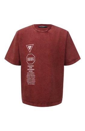 Мужская хлопковая футболка DOLCE & GABBANA красного цвета, арт. G8MZ0T/HU7IL   Фото 1 (Материал внешний: Хлопок; Рукава: Короткие; Принт: С принтом; Стили: Кэжуэл; Длина (для топов): Стандартные)