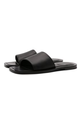 Мужские кожаные шлепанцы void BALENCIAGA черного цвета, арт. 660377/WA910 | Фото 1
