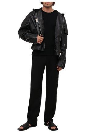 Мужские кожаные шлепанцы void BALENCIAGA черного цвета, арт. 660377/WA910 | Фото 2