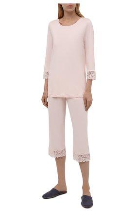 Женская хлопковая пижама HANRO кремвого цвета, арт. 077928 | Фото 1