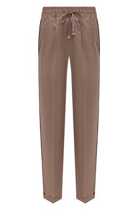 Женские шелковые брюки KITON светло-бежевого цвета, арт. D52122K04H94   Фото 1 (Длина (брюки, джинсы): Стандартные; Материал внешний: Шелк; Женское Кросс-КТ: Брюки-белье)