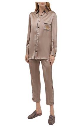 Женские шелковые брюки KITON светло-бежевого цвета, арт. D52122K04H94   Фото 2 (Длина (брюки, джинсы): Стандартные; Материал внешний: Шелк; Женское Кросс-КТ: Брюки-белье)