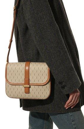 Женская сумка le monogramme SAINT LAURENT бежевого цвета, арт. 568604/2UY1W | Фото 2 (Размер: small; Ремень/цепочка: На ремешке; Сумки-технические: Сумки через плечо; Материал: Экокожа)