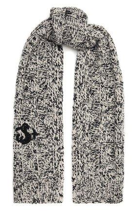 Женский шерстяной шарф JIL SANDER серого цвета, арт. JPPT769540-WTY20118   Фото 1 (Материал: Шерсть)