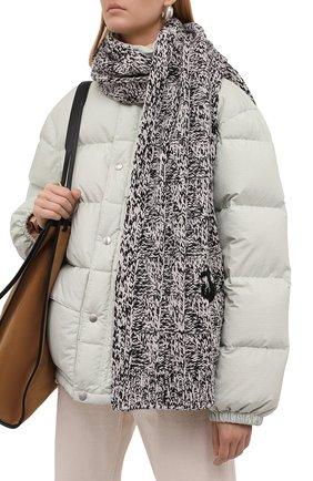 Женский шерстяной шарф JIL SANDER серого цвета, арт. JPPT769540-WTY20118   Фото 2 (Материал: Шерсть)