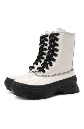 Женские кожаные ботинки JIL SANDER белого цвета, арт. JP37003A-14502 | Фото 1 (Подошва: Платформа; Каблук высота: Низкий; Женское Кросс-КТ: Военные ботинки; Материал внутренний: Текстиль)