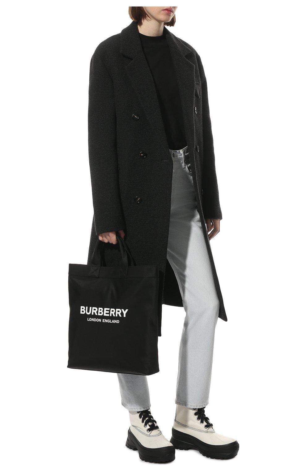 Женские кожаные ботинки JIL SANDER белого цвета, арт. JP37003A-14502 | Фото 2 (Подошва: Платформа; Каблук высота: Низкий; Женское Кросс-КТ: Военные ботинки; Материал внутренний: Текстиль)