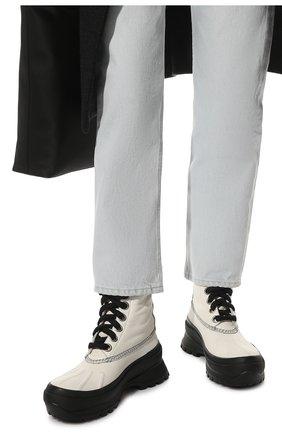 Женские кожаные ботинки JIL SANDER белого цвета, арт. JP37003A-14502 | Фото 3 (Подошва: Платформа; Каблук высота: Низкий; Женское Кросс-КТ: Военные ботинки; Материал внутренний: Текстиль)