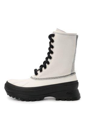 Женские кожаные ботинки JIL SANDER белого цвета, арт. JP37003A-14502 | Фото 4 (Подошва: Платформа; Каблук высота: Низкий; Женское Кросс-КТ: Военные ботинки; Материал внутренний: Текстиль)