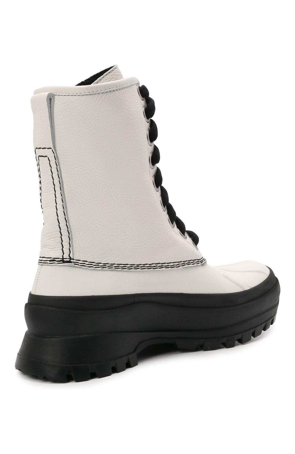 Женские кожаные ботинки JIL SANDER белого цвета, арт. JP37003A-14502 | Фото 5 (Подошва: Платформа; Каблук высота: Низкий; Женское Кросс-КТ: Военные ботинки; Материал внутренний: Текстиль)