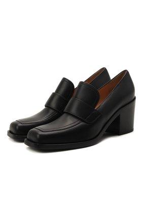 Женские кожаные туфли GIANVITO ROSSI черного цвета, арт. G25228.60CU0.CLNNER0 | Фото 1 (Подошва: Плоская; Материал внутренний: Натуральная кожа; Каблук высота: Средний; Каблук тип: Устойчивый)