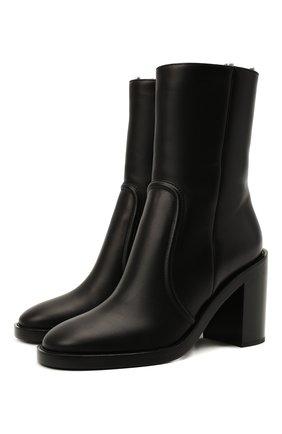 Женские кожаные ботильоны GIANVITO ROSSI черного цвета, арт. G73217.85CU0.CLYNENE | Фото 1 (Материал утеплителя: Натуральный мех; Подошва: Плоская; Каблук высота: Высокий; Каблук тип: Устойчивый)