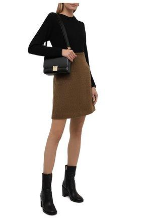Женские кожаные ботильоны GIANVITO ROSSI черного цвета, арт. G73217.85CU0.CLYNENE | Фото 2 (Материал утеплителя: Натуральный мех; Подошва: Плоская; Каблук высота: Высокий; Каблук тип: Устойчивый)