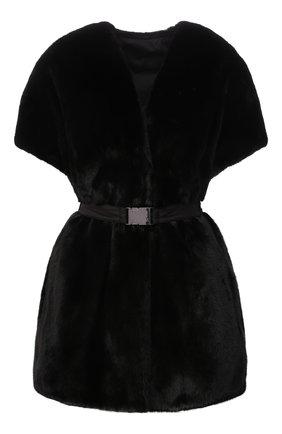 Женский жилет из меха норки MANZONI24 черного цвета, арт. 21M325-VFNY/38-46   Фото 1