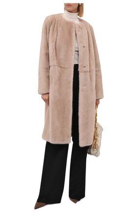 Женская шуба из меха норки MANZONI24 бежевого цвета, арт. 21M412-VF/38-46   Фото 2