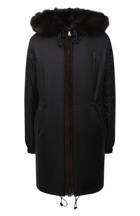 Женская куртка с подкладкой из меха соболя MANZONI24 черного цвета, арт. 21M551-ZNY/EXTRA DARK/38-46   Фото 1