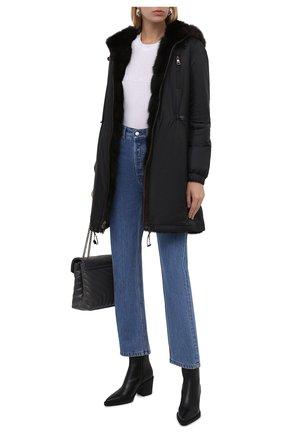 Женская куртка с подкладкой из меха соболя MANZONI24 черного цвета, арт. 21M551-ZNY/EXTRA DARK/38-46   Фото 2