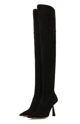 Женские замшевые ботфорты bryson 100 JIMMY CHOO черного цвета, арт. BRYS0N 100/SSU   Фото 1 (Каблук высота: Высокий; Высота голенища: Высокие; Материал внутренний: Натуральная кожа; Подошва: Плоская; Каблук тип: Фигурный; Материал внешний: Замша)