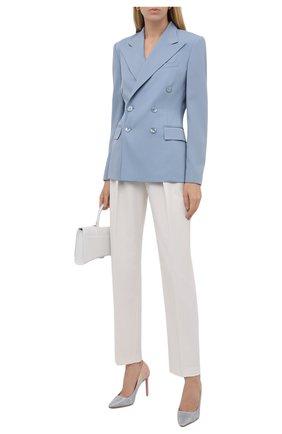 Женские текстильные туфли romy 100 JIMMY CHOO голубого цвета, арт. R0MY 100/ZYV   Фото 2 (Материал внешний: Текстиль; Материал внутренний: Натуральная кожа; Каблук высота: Высокий; Подошва: Плоская; Каблук тип: Шпилька)