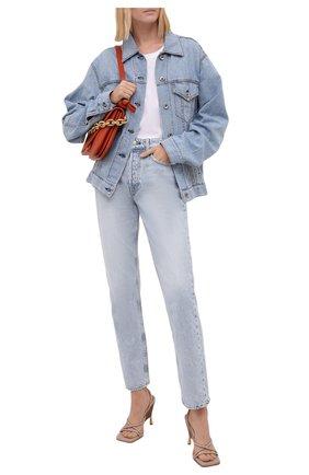 Женская джинсовая куртка RAG&BONE синего цвета, арт. WDD21P1428KSLL | Фото 2 (Кросс-КТ: Куртка, Деним; Рукава: Длинные; Стили: Гранж; Материал внешний: Хлопок, Лен; Длина (верхняя одежда): Короткие)