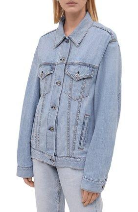 Женская джинсовая куртка RAG&BONE синего цвета, арт. WDD21P1428KSLL | Фото 3 (Кросс-КТ: Куртка, Деним; Рукава: Длинные; Стили: Гранж; Материал внешний: Хлопок, Лен; Длина (верхняя одежда): Короткие)
