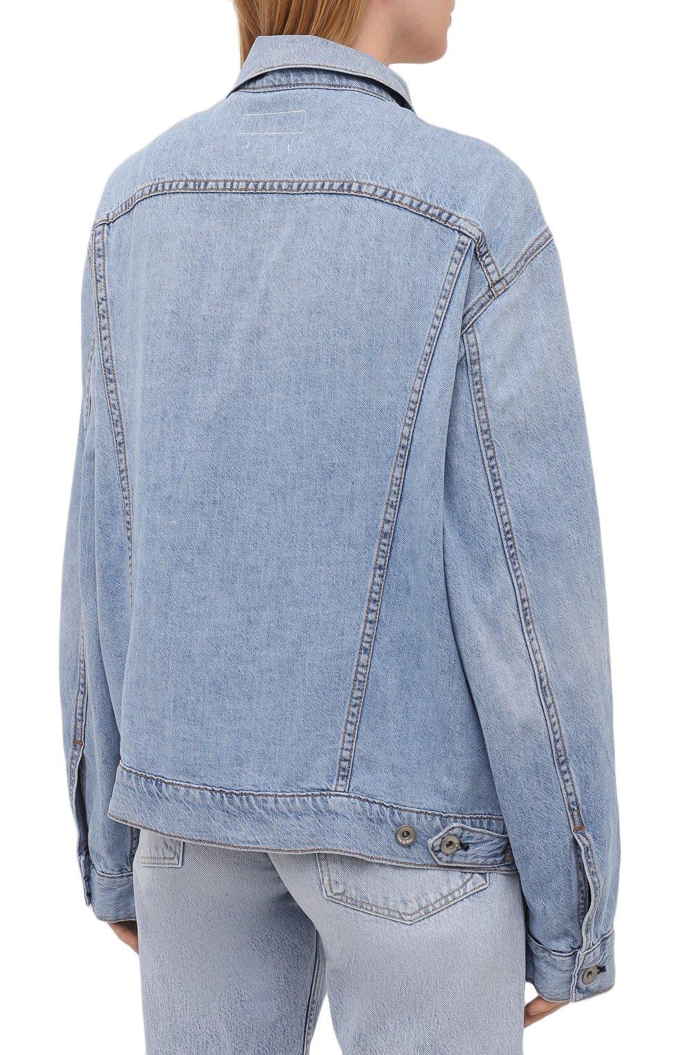 Женская джинсовая куртка RAG&BONE синего цвета, арт. WDD21P1428KSLL | Фото 4 (Кросс-КТ: Куртка, Деним; Рукава: Длинные; Стили: Гранж; Материал внешний: Хлопок, Лен; Длина (верхняя одежда): Короткие)