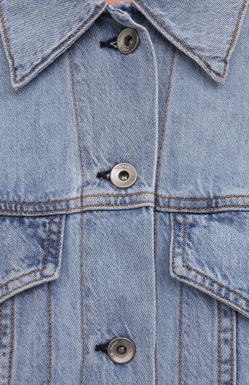 Женская джинсовая куртка RAG&BONE синего цвета, арт. WDD21P1428KSLL | Фото 5 (Кросс-КТ: Куртка, Деним; Рукава: Длинные; Стили: Гранж; Материал внешний: Хлопок, Лен; Длина (верхняя одежда): Короткие)
