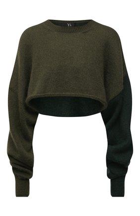Женский пуловер Y`S зеленого цвета, арт. YM-K75-645 | Фото 1 (Материал внешний: Шерсть, Синтетический материал; Рукава: Длинные; Длина (для топов): Укороченные; Женское Кросс-КТ: Пуловер-одежда; Стили: Гранж)