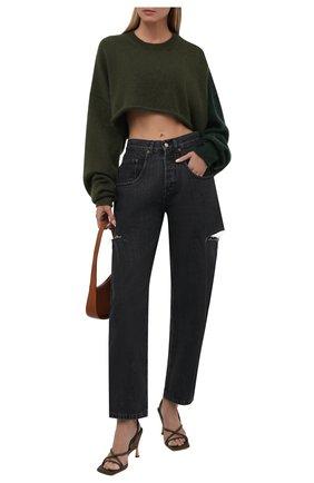 Женский пуловер Y`S зеленого цвета, арт. YM-K75-645 | Фото 2 (Материал внешний: Шерсть, Синтетический материал; Рукава: Длинные; Длина (для топов): Укороченные; Женское Кросс-КТ: Пуловер-одежда; Стили: Гранж)