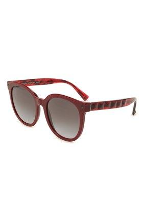 Женские солнцезащитные очки VALENTINO бордового цвета, арт. 4083-51398G | Фото 1 (Тип очков: С/з; Материал: Пластик; Очки форма: Круглые)