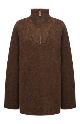 Женский свитер NANUSHKA коричневого цвета, арт. NW21PFSW00725 | Фото 1 (Материал внешний: Шерсть, Синтетический материал; Рукава: Длинные; Длина (для топов): Удлиненные; Женское Кросс-КТ: Свитер-одежда; Стили: Кэжуэл)