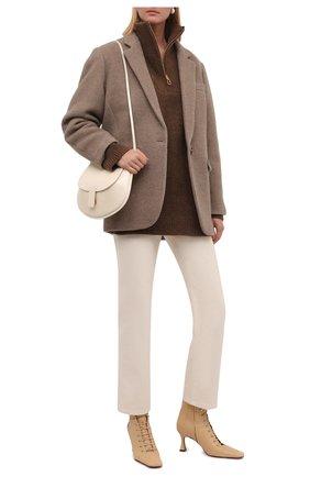 Женский свитер NANUSHKA коричневого цвета, арт. NW21PFSW00725 | Фото 2 (Материал внешний: Шерсть, Синтетический материал; Рукава: Длинные; Длина (для топов): Удлиненные; Женское Кросс-КТ: Свитер-одежда; Стили: Кэжуэл)