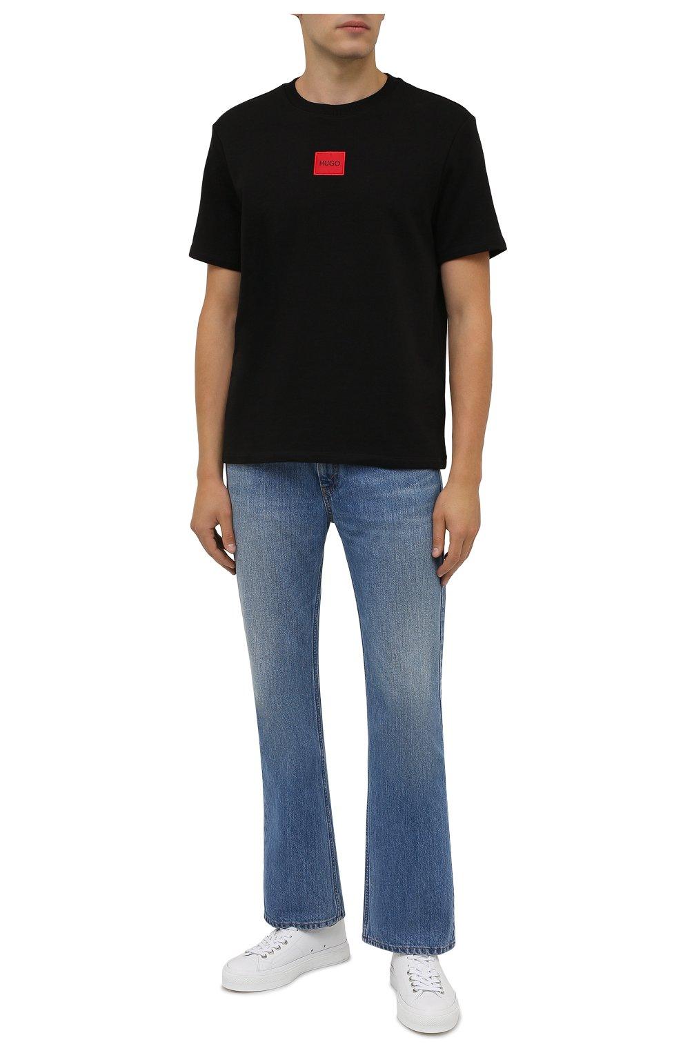 Мужская хлопковая футболка HUGO черного цвета, арт. 50458194 | Фото 2 (Принт: Без принта; Рукава: Короткие; Длина (для топов): Стандартные; Материал внешний: Хлопок; Стили: Кэжуэл)