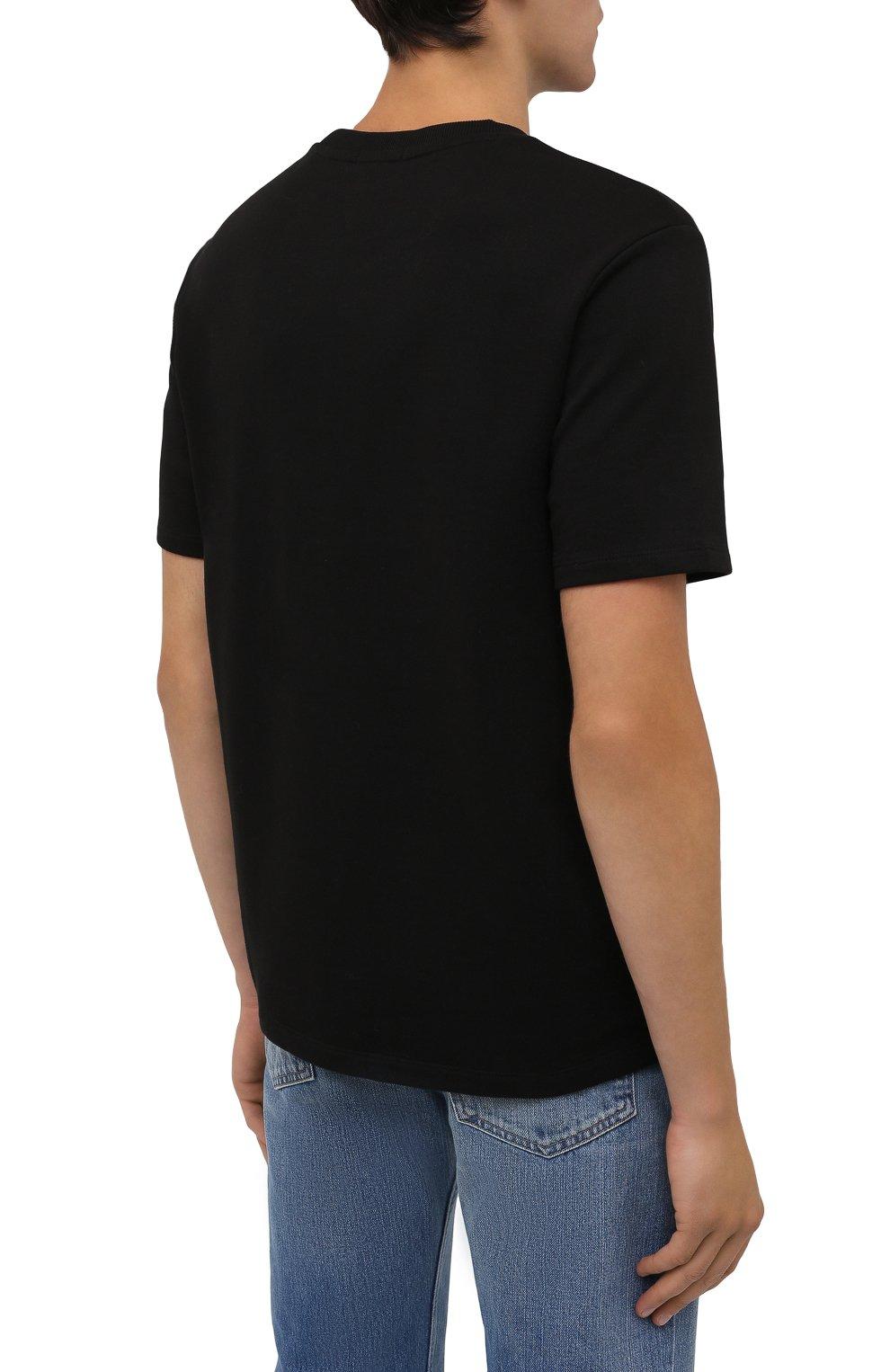 Мужская хлопковая футболка HUGO черного цвета, арт. 50458194 | Фото 4 (Принт: Без принта; Рукава: Короткие; Длина (для топов): Стандартные; Материал внешний: Хлопок; Стили: Кэжуэл)