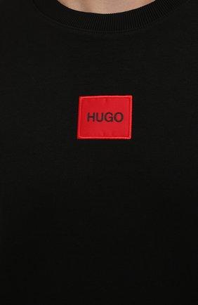 Мужская хлопковая футболка HUGO черного цвета, арт. 50458194 | Фото 5 (Принт: Без принта; Рукава: Короткие; Длина (для топов): Стандартные; Материал внешний: Хлопок; Стили: Кэжуэл)