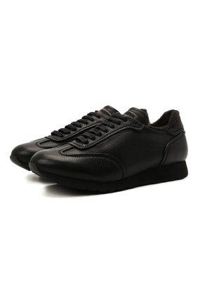 Мужские кожаные кроссовки BRIONI черного цвета, арт. QHI90L/09712 | Фото 1 (Подошва: Плоская; Материал утеплителя: Натуральный мех; Материал внутренний: Натуральная кожа; Стили: Классический)