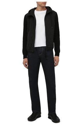 Мужские кожаные кроссовки BRIONI черного цвета, арт. QHI90L/09712 | Фото 2 (Подошва: Плоская; Материал утеплителя: Натуральный мех; Материал внутренний: Натуральная кожа; Стили: Классический)
