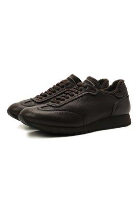 Мужские кожаные кроссовки BRIONI темно-коричневого цвета, арт. QHI90L/09712   Фото 1 (Подошва: Плоская; Материал внутренний: Натуральная кожа; Материал утеплителя: Натуральный мех; Стили: Классический)