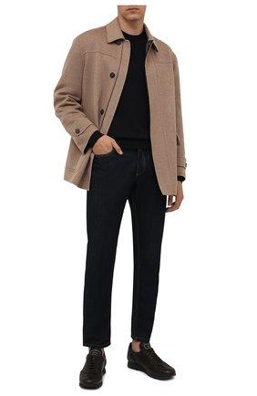 Мужские кожаные кроссовки BRIONI темно-коричневого цвета, арт. QHI90L/09712   Фото 2 (Подошва: Плоская; Материал внутренний: Натуральная кожа; Материал утеплителя: Натуральный мех; Стили: Классический)