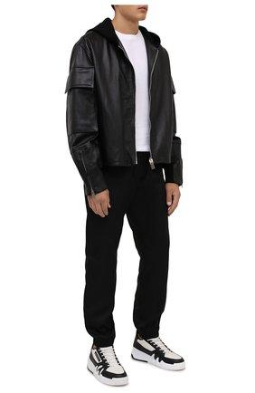 Мужские кожаные кеды talon GIUSEPPE ZANOTTI DESIGN черно-белого цвета, арт. RM10005/011 | Фото 2 (Подошва: Массивная; Материал внутренний: Натуральная кожа, Текстиль)