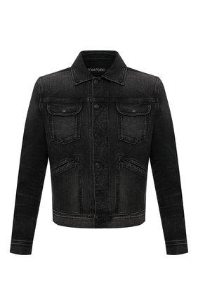 Мужская джинсовая куртка TOM FORD черного цвета, арт. BYJ50/TFD116   Фото 1 (Рукава: Длинные; Длина (верхняя одежда): Короткие; Материал внешний: Хлопок; Кросс-КТ: Куртка, Деним; Стили: Кэжуэл)