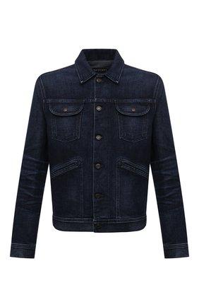 Мужская джинсовая куртка TOM FORD темно-синего цвета, арт. BYJ31/TFD116   Фото 1 (Рукава: Длинные; Длина (верхняя одежда): Короткие; Материал внешний: Хлопок; Кросс-КТ: Куртка, Деним; Стили: Кэжуэл)